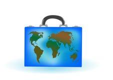 Vector a ilustração uma mala de viagem com globo Fotos de Stock Royalty Free