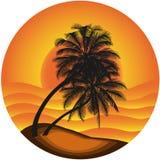 Vector a ilustração uma paisagem do mar com uma palma tr Fotografia de Stock Royalty Free
