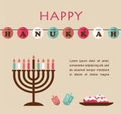 Vector ilustrações de símbolos famosos para o Hanukkah judaico do feriado Fotografia de Stock Royalty Free