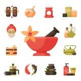 Vector ilustrações do tratamento bonito dos termas da mulher, ícones do bem-estar dos procedimentos da beleza Fotografia de Stock Royalty Free
