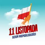 Vector a ilustra??o no Dia da Independ?ncia do tema de Pol?nia M?os com bandeiras do Pol?nia Traduza o texto no polonês: Dia da I ilustração do vetor