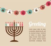 Vector ilustrações de símbolos famosos para o Hanukkah judaico do feriado Imagens de Stock Royalty Free