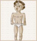 Vector a ilustração alinhada do homem do nude, conceito de Adam Mão desenhada Fotos de Stock Royalty Free