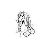 Vector a ilustração da cabeça de cavalo no preto e Foto de Stock Royalty Free