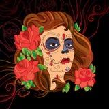 Vector a ilustração da cara da mulher com crânio do açúcar ou da composição de Calavera Catrina no fundo preto com redemoinhos ve Fotos de Stock Royalty Free