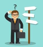 Vector a ilustração da posição do homem e escolha a maneira Imagem de Stock Royalty Free