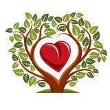 Vector a ilustração da árvore com ramos na forma do coração Imagens de Stock Royalty Free
