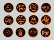 Vector a ilustração de crachás do Dia das Bruxas e projete elementos com símbolos Fotos de Stock Royalty Free