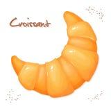 Vector a ilustração do croissant realístico na vista superior Imagens de Stock