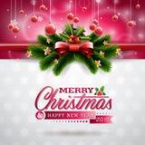 Vector a ilustração do Natal com projeto tipográfico e elementos brilhantes do feriado no fundo dos flocos de neve Fotografia de Stock Royalty Free