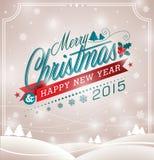 Vector a ilustração do Natal com projeto tipográfico e a fita no fundo da paisagem Imagem de Stock Royalty Free