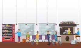 Vector a ilustração do salão de espera do aeroporto, café, passageiros, estilo liso Imagens de Stock