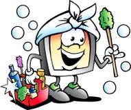 Vector a ilustração dos desenhos animados de uma mascote feliz do líquido de limpeza da tela ou do monitor Imagens de Stock Royalty Free