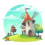 Vector a ilustração dos desenhos animados - fundo com um moinho de vento Fotografia de Stock Royalty Free