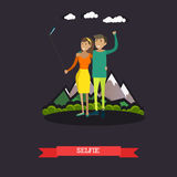 Vector a ilustração dos pares novos que tomam o selfie no estilo liso Fotografia de Stock