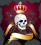 Vector a ilustração floral do crânio com bandeiras e cr Fotos de Stock Royalty Free
