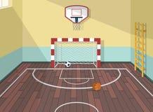Vector a ilustração lisa da sala do esporte no instituto, faculdade, universidade, escola Bolas do basquetebol, do futebol e de f Imagens de Stock Royalty Free