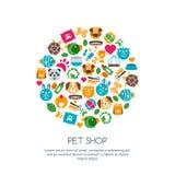 Vector a ilustração lisa do gato, cão, pássaro do papagaio, tartaruga, serpente Foto de Stock