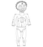 Vector a ilustração monocromática do homem do nude, conceito de Adam Mão d Foto de Stock