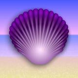 Vector a ilustração roxa do shell no mar do verão Fotos de Stock Royalty Free