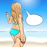 Vector a ilustração tirada mão do pop art da jovem mulher na praia Fotos de Stock Royalty Free