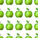 Vector ilustration Naadloze patroon realistische groene appel op witte Decoratie als achtergrond stock illustratie