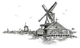Vector ilustration watermill in Amsterdam. Graphic Vector hand drawing engraving Illustration of watermill in Amsterdam Netherlands, Holland in black color Stock Photos