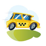 Vector ilustration of yellow taxi car Stock Images