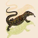 Vector ilustrou o deserto Varan na técnica gravada no fundo bege ilustração royalty free