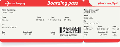 Vector image of airline boarding pass ticket Royalty Free Stock Image