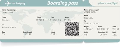 Vector image of airline boarding pass ticket with. QR2 code. Isolated on white. Vector illustration Stock Images