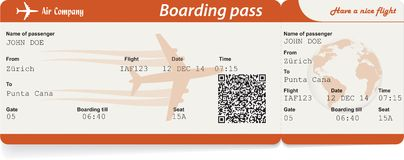 Vector image of airline boarding pass ticket. With QR2 code. Isolated on white. Vector illustration Stock Photography