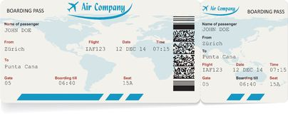 Vector image of airline boarding pass ticket Royalty Free Stock Photos