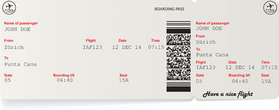 Vector image of airline boarding pass ticket Stock Photo