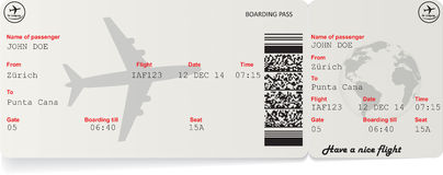 Vector image of airline boarding pass ticket Royalty Free Stock Images