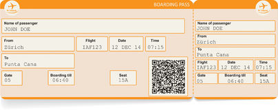 Vector image of airline boarding pass ticket Stock Photos