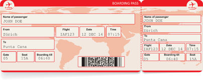 Airline Boarding Pass Tickets Vector Template Stock Vector