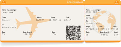 Vector image of airline boarding pass ticket Stock Photography