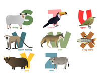 Vector image of alphabet with animals. For children stock image