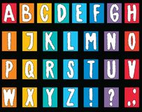 Vector image of an alphabet from decorative drawn letters. Vector drawing of an alphabet from decorative colorful letters vector illustration