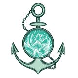 Vector image of an anchor and lotus. vector illustration