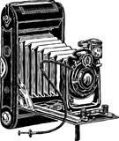 Vintage camera. Vector image of the ancient camera of past century Royalty Free Stock Photography