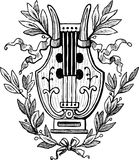Lyre with laurel twigs. Vector image of the ancient lyre Royalty Free Stock Photos