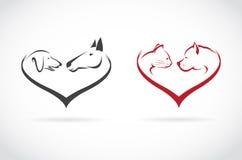 Vector image of animal on heart shape on white background