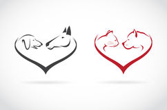 Vector image of animal on heart shape on white background. Horse-dog-cat vector illustration
