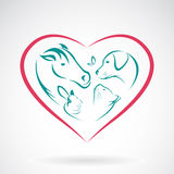Vector image of animal on heart shape. On white background, horse,dog,cat,rabbit,butterfly royalty free illustration
