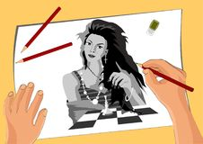 Vector image, the artist draws a girl who plays chess stock illustration