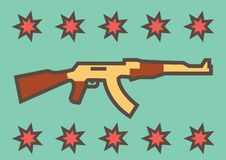 Russian assault rifle ak-47 on a blue background with decoration of stars vector illustration