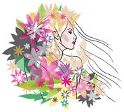 Beautiful girl with flowers portrait. Vector image of beautiful woman with floral hair style Royalty Free Stock Photo