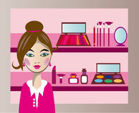 Cosmetics consultant. Vector image of beautiful woman in pink suit and selling cosmetics in store Stock Images